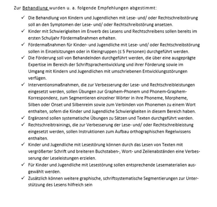 Behandlung bei Legasthenie die S3 Leitlinie der LMU