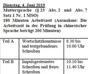 Termine Quali 2019 Bayern Teil 1