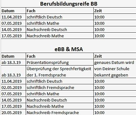 Termine BB,eBB,MSA Berlin