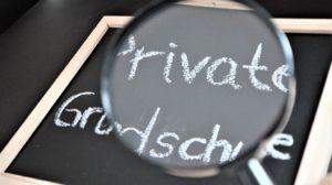Tafel mit Text private Grundschule und Lupe